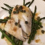Fresh Icelandic Cod on roasted asparagus