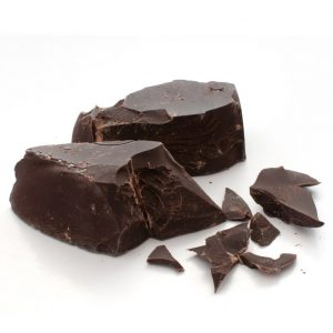 Picture of dark chocolate chunks on a white background
