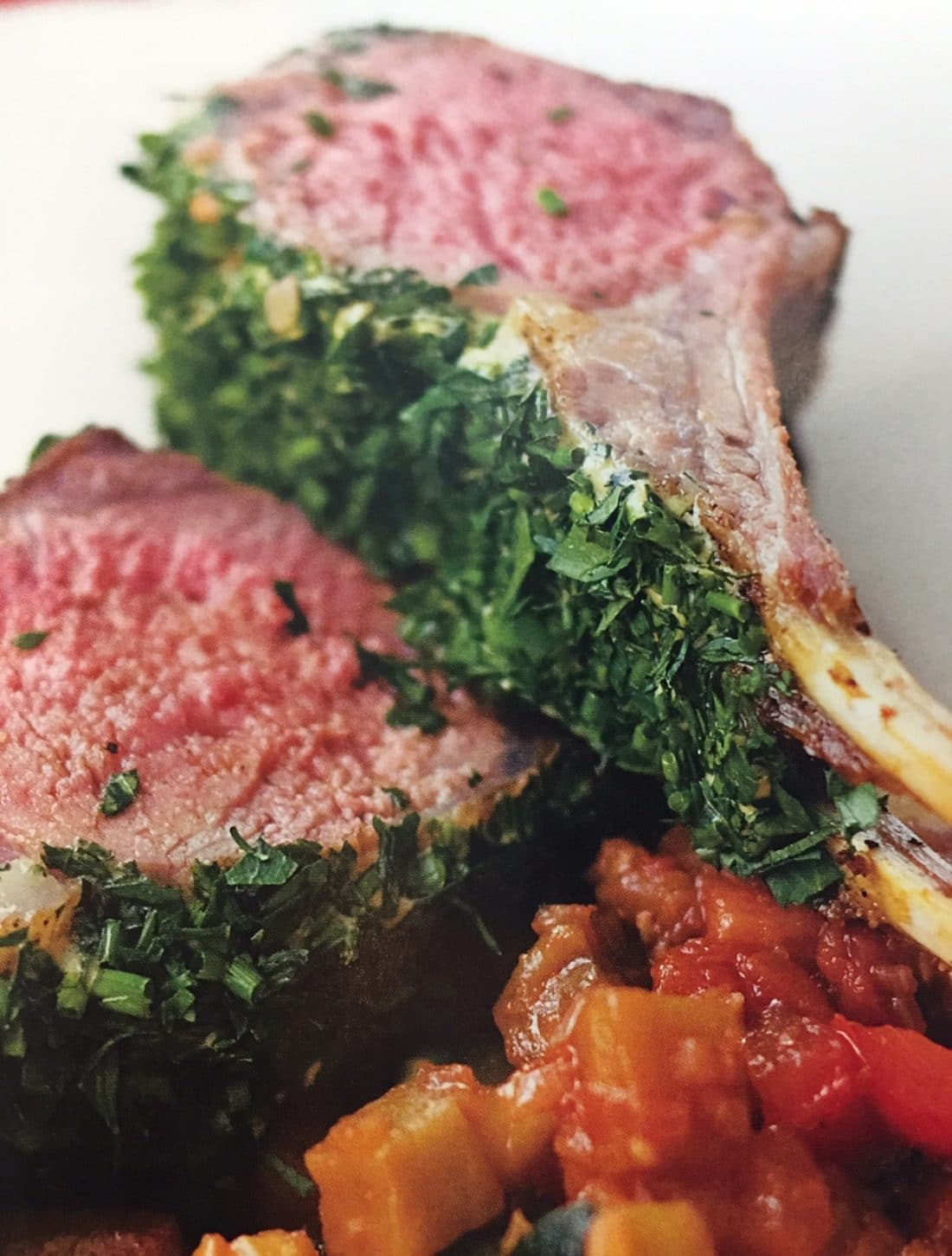 Lamb chops with Dijon and herb crust.