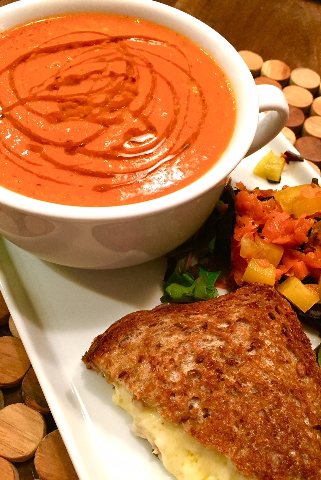 Roasted Tomato Soup with grilled cheese and salad