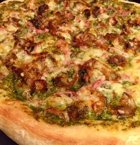 Pesto Pizza with rosemary ham and caramelized onions by Cultivated Tree Olive Oil Co.
