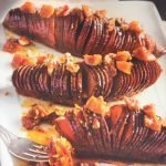 Hasselback sweet potatoes with Cinnamon Pear and Baklouti Green Chili Fused Olive Oil
