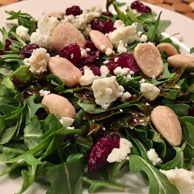 Winter Arugula Salad with Black Currant Vinaigrette